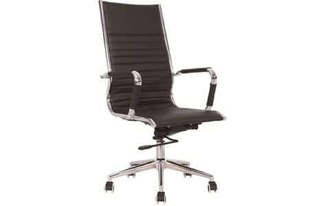 Dynamic Heiro High Back Black Faux Leather Designer Chair With Arms