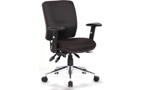 Dynamic Chiro Task Operators Chair Black With Arms Medium Back