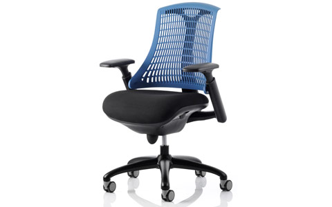 Dynamic Flex Task Operator Chair Black Frame With Black Fabric Seat Blue Back With Arms