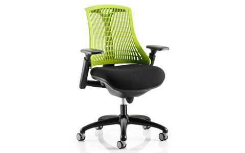 Dynamic Flex Task Operator Chair Black Frame With Black Fabric Seat Green Back With Arms