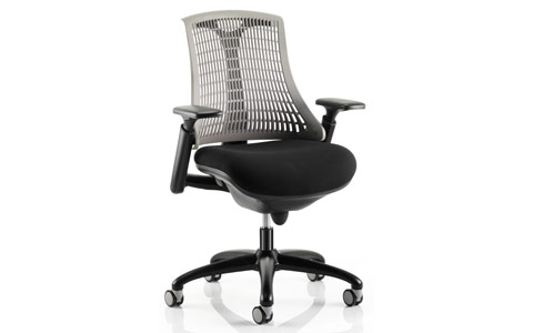 Dynamic Flex Task Operator Chair Black Frame With Black Fabric Seat Grey Back With Arms