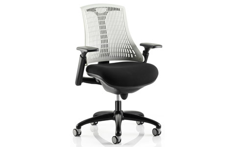 Dynamic Flex Task Operator Chair Black Frame With Black Fabric Seat Moonstone White Back With Arms