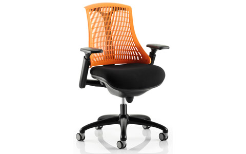 Dynamic Flex Task Operator Chair Black Frame With Black Fabric Seat Orange Back With Arms