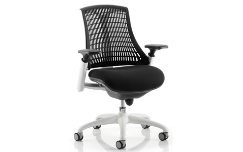 Dynamic Flex Task Operator Chair White Frame Black Fabric Seat With Black Back With Arms