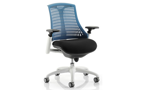 Dynamic Flex Task Operator Chair White Frame Black Fabric Seat With Blue Back With Arms