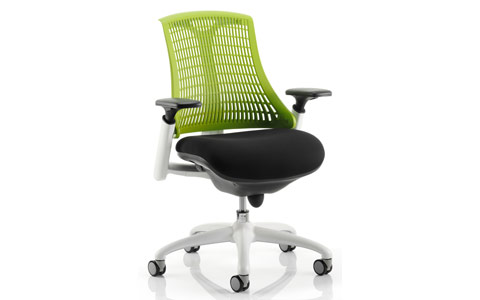 Dynamic Flex Task Operator Chair White Frame Black Fabric Seat With Green Back With Arms