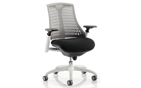 Dynamic Flex Task Operator Chair White Frame Black Fabric Seat With Grey Back With Arms