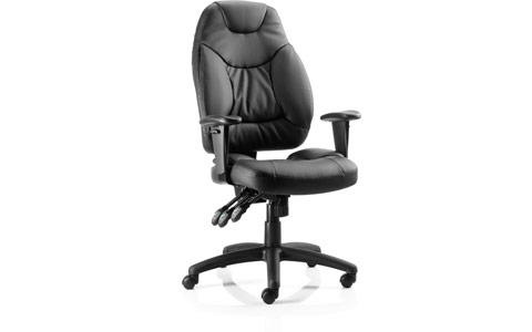 Dynamic Galaxy Task Operator Chair Black Leather With Arms