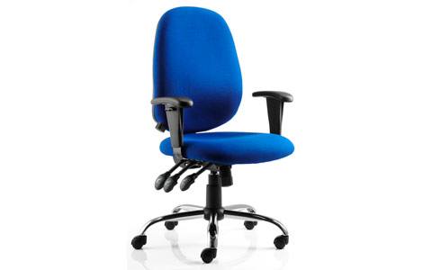 Dynamic Lisbon Task Operator Chair Blue Fabric With Arms