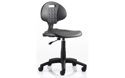 Dynamic Malaga Draughtsman Task Operator Chair Black Polyurethane Seat And Back