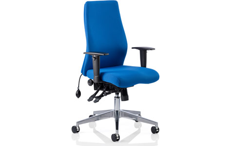 Dynamic Onyx Ergo Posture Chair Blue Fabric Without Headrest With Arms
