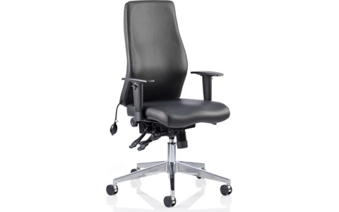 Dynamic Onyx Ergo Posture Chair Black Bonded Leather Without Headrest With Arms