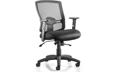 Dynamic Portland II Task Operator Chair Black Mesh With Arms