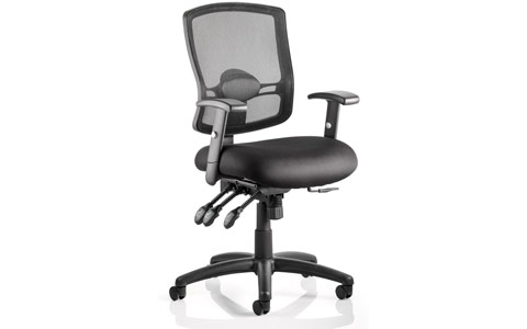 Dynamic Portland III Task Operator Chair Black Mesh Back With Arms