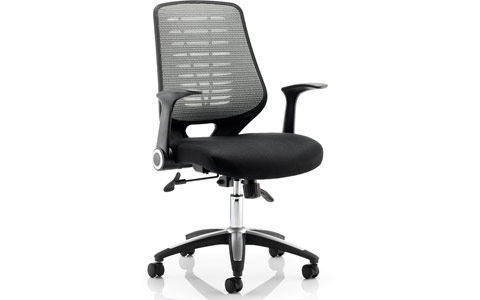 Dynamic Relay Task Operator Chair Airmesh Seat Silver Back With Arms