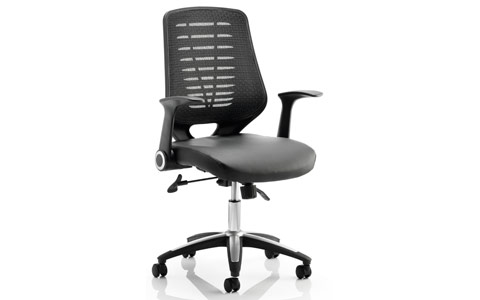 Dynamic Relay Task Operator Chair Leather Seat Black Back With Arms
