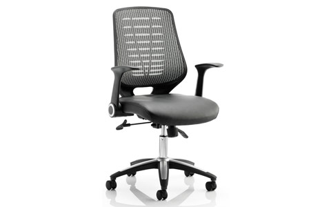 Dynamic Relay Task Operator Chair Leather Seat Silver Back With Arms
