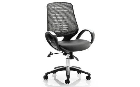 Dynamic Sprint Task Operator Chair Leather Seat Silver Back With Arms