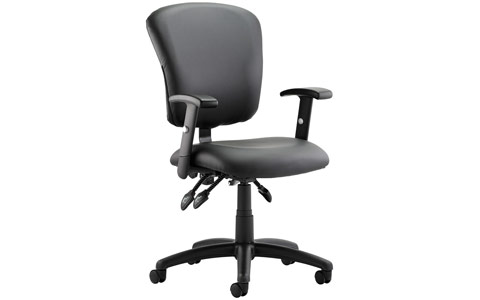 Dynamic Toledo Task Operator Chair Black Leather With Arms