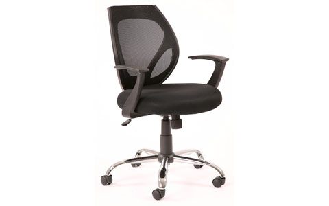 Dynamic Elite Black Airmesh-Mesh Back Operator Chair With Arms