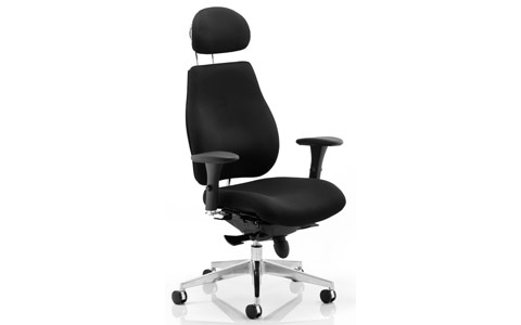 Dynamic Chiro Plus Ergo Posture Chair Black With Arms With Headrest