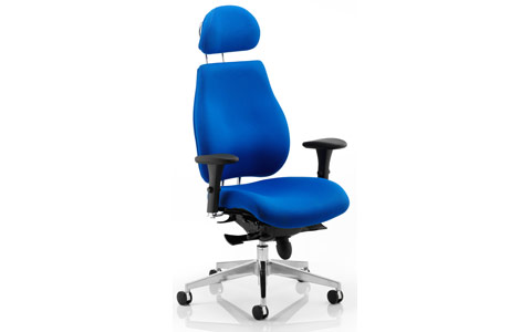 Dynamic Chiro Plus Ergo Posture Chair Blue With Arms With Headrest