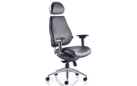 Dynamic Chiro Plus Ultimate Black Leather With Arms With Headrest