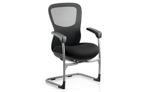 Dynamic Stealth Ergo Posture Visitor Black Cantilever Chair Airmesh Seat And Mesh Back With Arms