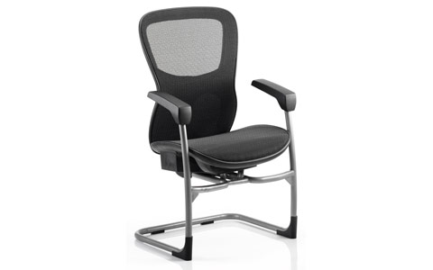 Dynamic Stealth Ergo Posture Visitor Black Cantilever Chair Mesh Seat And Mesh Back With Arms