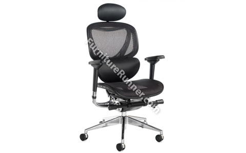 DAMS Boron Executive Mesh Chair With Leather Headrest and Lumbar Support